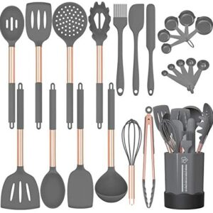 Silicone Cooking Utensil Set, Fungun 24pcs Silicone Cooking Kitchen Utensils Set, Non-stick Heat Resistant - Best Kitchen Cookware with Copper Stainless Steel Handle -Gray(BPA Free, Non Toxic)