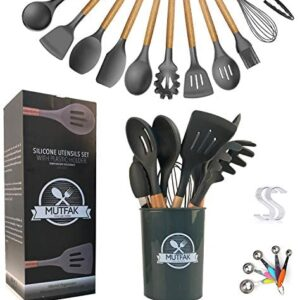 Silicone Cooking Utensils Set, Kitchen Utensil Set, MUTFAK 16pcs Kitchen Utensils Set Non-Stick Heat Resistant BPA Free, Non-Toxic Wooden Handles Cookware With Holder & Measuring Spoons (Dark Gray)