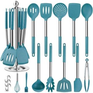 Silicone Kitchen Cooking Utensil Set, EAGMAK 14PCS Stainless Steel Silicone Kitchen Utensils Spatula Set with Stand for Nonstick Cookware, BPA Free Non-Toxic Silicone Cooking Utensils (Blue)