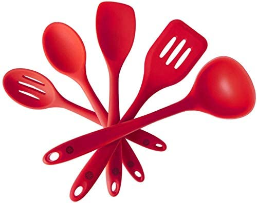 "StarPack Basics Silicone Kitchen Utensil Set (5 Piece Set, 10.5"") - High Heat Resistant to 480°F, Hygienic One Piece DesignSpatulas, Serving and Mixing Spoons (Cherry Red)"