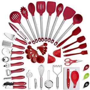 VEICA, Kitchen Utensils Set, 42Pcs Nylon Cooking Utensils Set, Heat Resistant Kitchen Non-Stick Cooking Utensils Baking Tools,Spatula Ladle Whisk Shovel Spoon Soup (Rednew)