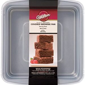 Wilton Recipe Right Non-Stick Square Brownie Baking Pan with Lid, for Transporting Your Dessert from Home to Party, x 9-Inch, 9