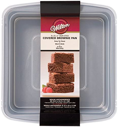"""Wilton Recipe Right Non-Stick Square Brownie Baking Pan with Lid, for Transporting Your Dessert from Home to Party, x 9-Inch, 9"""" x 9"""", Gray"""