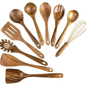 Wooden Cooking Utensils, 10 Pack Kitchen Utensils Wooden Spoons for Cooking,Teak Wooden Cooking Spoons Spatula for Nonstick Cookware (10)