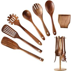 Wooden Kitchen Utensil Set, NAYAHOSE Bamboo Utensil Holder with 6 Hooks Kitchen Countertop Hanging Organizer for Spoon Spatula Fork,Teak Wooden Spoons for Cooking, 8pcs (8)