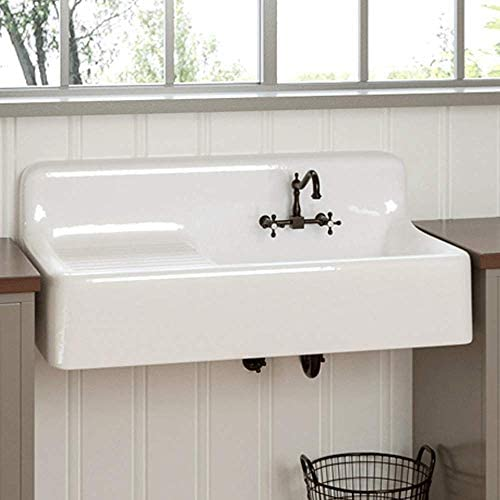"""Magnus Home Products 42"""" Sudbury Cast Iron Wall-Hung Kitchen Sink w/Left Side Drainboard, Strainer Basket & Stopper, White, 42"""" L x 20 7/8"""" W, 300.0 lb"""