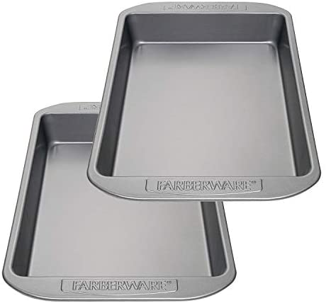 Farberware Nonstick Bakeware Baking Pan Set / Nonstick Cake Pan Set, Rectangle - 2 Piece, Gray