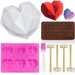 Heart Mold, Silicone Molds Diamond Heart Love Shaped Molds Trays Non-Stick Letter Chocolate Molds with Wooden Hammers Silicone Brush for Mousse Cake Dessert Biscuit DIY Baking Tools