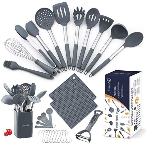 Jawanfu Kitchen Cooking utensils set, Silicone & Stainless Steel, Kitchen Utensils Set with Holder, 446°F Heat Resistant Nontoxic, Cooking utensils for Non-stick Pan