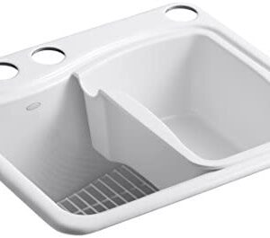 KOHLER K-6657-4U-0 River Falls Undercounter Sink with Four-Hole Faucet Drilling, White