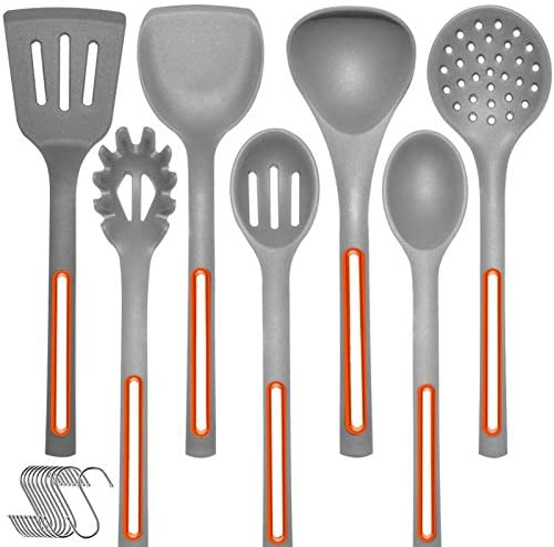 Kitchen Utensils Set Silicone Cooking Spoon - IELECMG Cooking Utensils Dishwasher Safe 500℉ Heat Resistant Spatula Slotted Spoons Mixing Skimmer Kitchen Tools with Hooks for Nonstick Cookware,Grey