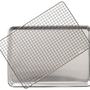 Nordic Ware Half Sheet with Oven Safe Nonstick Grid, 2 Piece Set, Natural