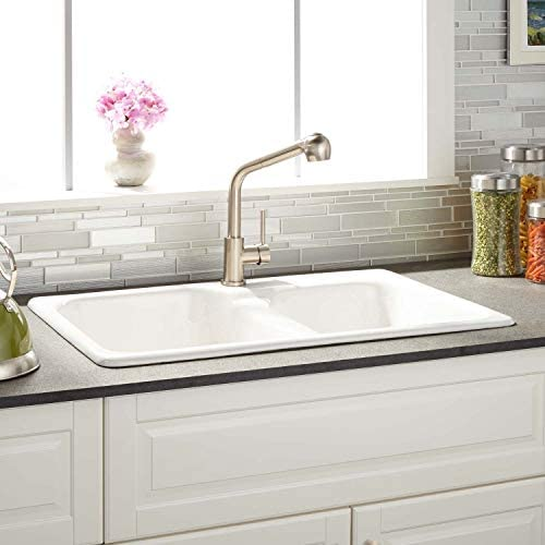 "Signature Hardware 936785-33-1 Elgin 33"" Drop In Double Basin Cast Iron Kitchen Sink with 1 Faucet Hole"