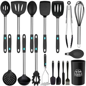 Silicone Cooking Utensils Set, 17Pcs Kitchen Utensils Set, Heat Resistant Non-stick BPA Free Silicone Cookware with Stainless Steel Handle Turner Spatula Spoon Tongs Set