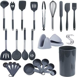 Silicone Cooking Utensils Set - 41pcs Non-stick Heat Resistant Kitchen Utensils - Measuring Spoon Cup & S-hook & Silicone Oven Mitt Included - Silicone Utensil Set Cookware With Stainless Steel Handle