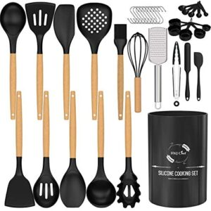 Silicone Cooking Utensils Set, HKJ Chef Kitchen Utensils 27 pcs, Non-stick Heat Resistant Silicone,Cookware with Holder & Wooden Handle,Silicone Kitchen Gadgets Utensil Set (Black Gray)