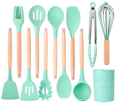 Silicone kitchen Utensil, 12pcs Non-stick Heat Resistant Silicone Cooking Sets, BPA-FREE Wooden Handle Heat Resistant Silicone Cooking Sets (Aqua)