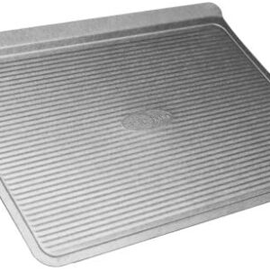 USA Pan Bakeware Cookie Sheet, Large, Warp Resistant Nonstick Baking Pan, Made in the USA from Aluminized Steel,Silver