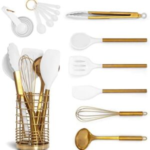 White Silicone and Gold Cooking Utensils Set with Gold Utensil Holder: 17PC Set Includes White & Gold Measuring Cups and Spoons Set,White Utensils Set,Gold Spatula,Gold Whisk -Gold Kitchen Accessories