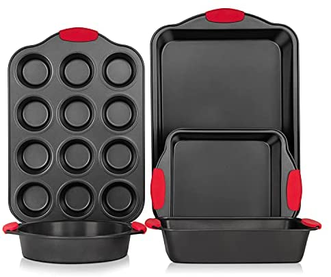 Bakeware Sets, Avoson Nonstick Bakeware Baking Pans Tray Set with Red Silicone Grips Carbon Steel with Cookie Sheet, Baking Pan, Cake Pan and Muffin Pan Loaf Pan Oven Safe- 5 Piece, Dark Grey