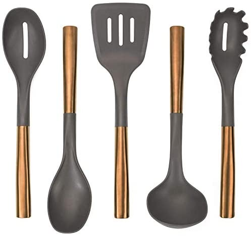 Copper Plated Kitchen Set, Nylon Cooking Utensils for Chefs, Non-Stick Safe, 5 Piece