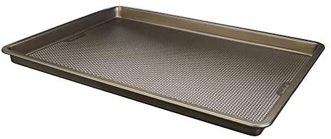 """GoodCook Sweet Creations Textured Nonstick Large Cookie Sheet, 17"""" x 11"""" x 1"""", Champagne Pewter"""