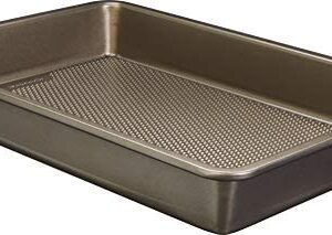 Goodcook 5504 Aluminized Steel, Diamond-Infused Non-Stick Coated Textured Bakeware, 13x9x2 Oblong, champagne pewter