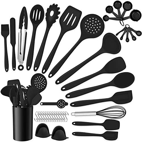 Homikit 42 Pieces Black Cooking Utensils Set with Holder, Silicone Kitchen Gadgets Tools for Nonstick Cookware, Heat Resistant Utensil Spatula Spoon Turner Skimmer, Dishwasher Safe