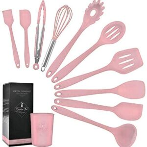 K & G Kitchen Silicone Cooking Utensils Set Heat-Resistant Non-Stick 11-piece Pink Spatula Set With Holder, Turner, Whisk, Slotted, Spoon, Brush, Spatula, Soup Ladle, Turner, Tongs, Pasta Fork