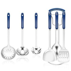 Kitchen Cooking Utensils Set, 7Pcs Stainless Steel Kitchen Utensils with Stand, Kitchen Cookware Tool Set with Ceramic Handle, Blue