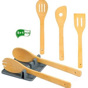 Kitchen Wooden Spoons Utensils Set, Apartment Essentials Organic Bamboo Wood Spatula with Hanging Hole & Silicone Utensil Rest, Premium Quality Cooking Gifts for Everyday Use