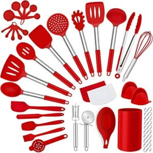 LIANYU 43 Pcs Kitchen Cooking Utensils Set, Silicone Cooking Utensils Spatula Set with Holder, Heat Resistant Kitchen Gadgets Tools for Nonstick Cookware Set, Stainless Steel Handle, Red
