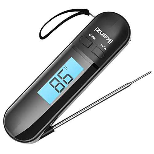 Meat Thermometer for Cooking Food Thermometer Digital Instant Read Kitchen Cooking Thermometer with Backlight LCD for Grilling/BBQ/Baking/Candy/Liquids/Oil(Black)