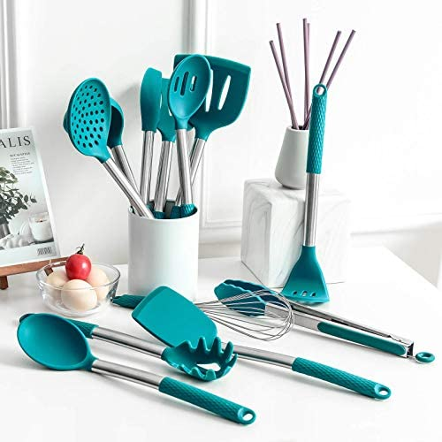 Rorence Silicone Cooking Utensil Set: 12 Pieces Kitchen Utensils Non-Stick & Heat Resistance Silicon And Stainless Steel Handles - Green
