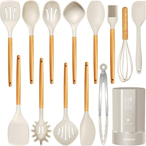 Silicone Cooking Utensils Kitchen Utensil Set, Heat Resistant,Kitchen Utensils Spatula Set with Holder.Wooden Handle Khaki Silicone Kitchen Tools Gadgets for Non-Stick Cookware .BPA Free.(Large)