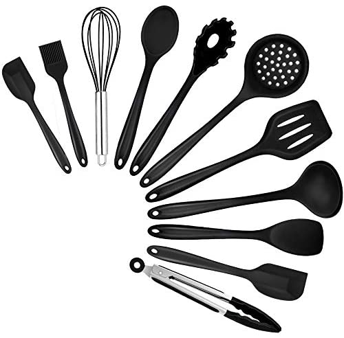TeamFar Kitchen Cooking Utensils, 11 PCS Black Silicone Cooking Utensils Spatula Set Heat Resistant For Nonstick Cookware, Perfect for Cooking Baking Mixing, Healthy & Non Scratch, Dishwasher Safe