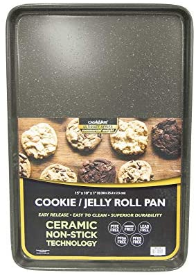 casaWare 15 x 10 x 1-Inch Ultimate Series Commercial Weight Ceramic Non-Stick Coating Cookie/Jelly Roll Pan (Silver Granite)