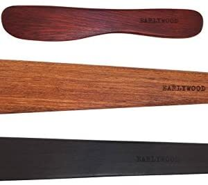 3-Piece Wooden Kitchen Cooking Utensil Set - Comes w/a Thin Wood Spatula Flipper, Wooden Cast Iron Scraper Stirrer and Butter Turner/Cheese Spreader - Wooden Utensils Set - Made in USA-EJB