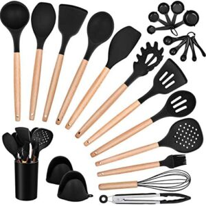 Homikit 25-Piece Kitchen Cooking Utensils Set with Holder, Silicone Spatula Spoon Ladle Turner Skimmer for Nonstick Cookware, Kitchen Tools Gadgets with Wooden Handle, Black