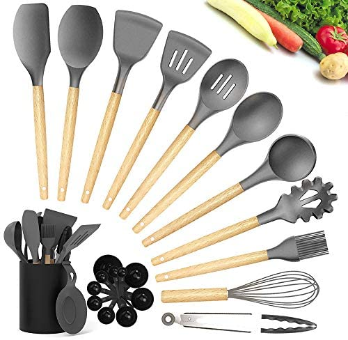 Kitchen Utensil Sets - CIYOYO 23Pcs Silicone Cooking Utensils Set with Holder for Nonstick Cookware, Wooden Handle Spatula Turner Spoons, Heat Resistant Kitchen Gadgets Tools