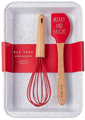 Rae Dunn Collection 3 Piece Holiday Baking Set with Whisk and Baking Pan- by Cook with Color