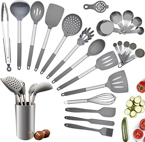 Silicone Kitchen Cooking Utensil Set,25PCS Kitchen Utensils with Holder,Heat-Resistant Non-Stick BPA-Free Stainless Steel Handle Silicone Spoons Spatula Turner Whisk Tongs Cooking Tools - Grey