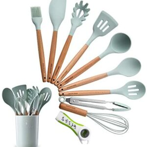 Silicone Kitchen Utensil Set, Heat-Resistant Non-Stick Silicone Cooking Gadgets Tools (Wood)
