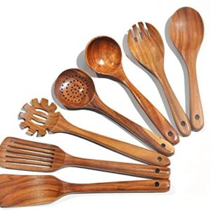 Wooden Spoons for Cooking,7Pcs Wooden Utensils for Cooking Teak Wooden Kitchen Utensil Set Wooden Cooking Utensils Wooden Spatula for Cooking