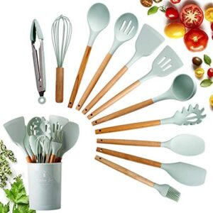 12PCS silicone utensils for cooking kitchen utensils set Pink kitchen cooking utensil set with holder Silicone Spatula Turner Set (Green)