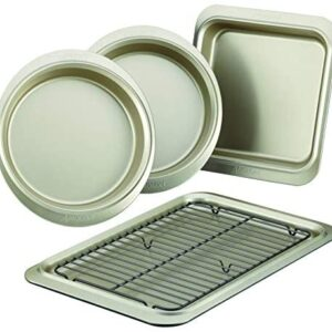 Anolon Allure Nonstick Bakeware Set includes Nonstick Cookie Sheet with Rack, Baking Pan and Cake Pans - 5 Piece, Onyx/Black/Pewter