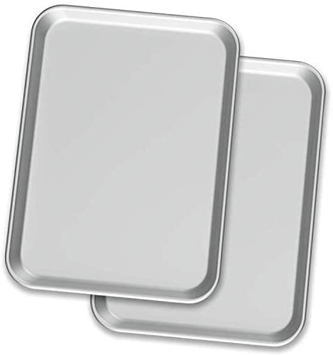 Baking Oven Half Sheet Aluminum Metal Pan | Professional, Commercial and Industrial Grade, Rimmed 2 Piece Bakeware Set - Great for Roasting Durable, Oven-Safe, Non Toxic, Easy to clean 13 x 18 inch