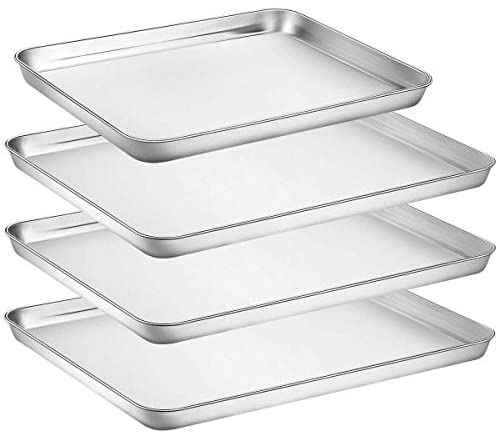 Baking Sheet Pan for Toaster Oven, Stainless Steel Baking Pans Small Metal Cookie Sheets by Umite Chef, Superior Mirror Finish Easy Clean, Dishwasher Safe, 3 pieces/set (16 inch & 12 inch)
