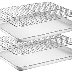 Baking Sheet with Rack Set [2 Pans + 2 Racks], Wildone Stainless Steel Cookie Sheet Baking Pan Tray with Cooling Rack, Size 16 x 12 x 1 Inch, Non Toxic & Heavy Duty & Easy Clean