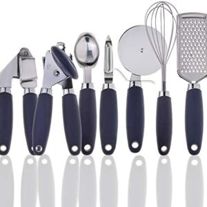 COOK With COLOR 7 Pc Kitchen Gadget Set Stainless Steel Utensils with Soft Touch Navy Handles